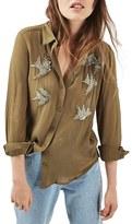 Topshop Women's Embellished Swallow Shirt