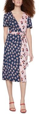 BCBGeneration Floral-Print Midi Wrap Dress