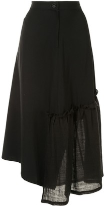 Y's Asymmetric Ruched Skirt