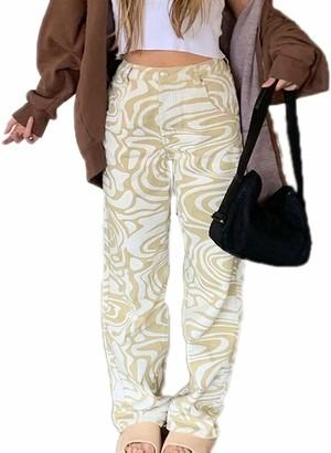 BBTRE Women's High Waist Casual Denim Pants Loose Zebra Printed Striped Wide Leg Straight Jeans Y2K Streetwear Fashion (Khaki L)