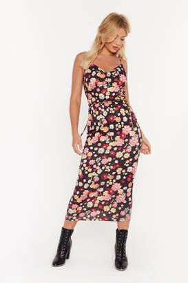 Nasty Gal Womens Cowl About Now Floral Midi Dress - black - 12