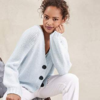 The White Company Oversized Cardigan with Wool, Pale Blue Marl, Large