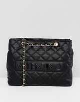 Valentino by Mario Valentino Quilted Shoulder Bag in Black