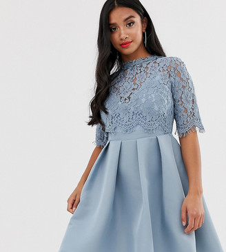 Little Mistress Petite 3/4 sleeve skater dress with lace upper
