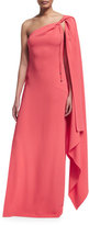 Rachel Zoe One-Shoulder Cape Gown