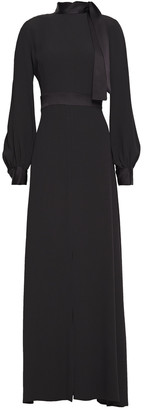 Goat Tie-neck Satin-crepe Maxi Dress