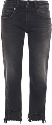 R 13 Maura Distressed Mid-rise Straight-leg Jeans