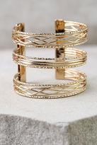 LuLu*s Promise You Gold Cuff Bracelet