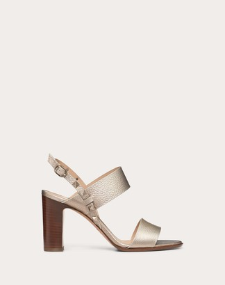 Valentino Rockstud Double Laminated Grainy Calfskin Sandal 85 Mm Women Champagne Calfskin 100% 37