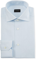 Ermenegildo Zegna Men's Cotton/Linen Micro Graph-Check Dress Shirt