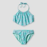 Xhilaration Girls' Printed High Neck Flounce Bikini Aqua