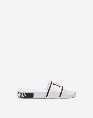 Dolce & Gabbana Rubber And Calfskin Sliders With High-Frequency Detailing