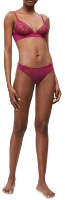 Calvin Klein Black Petal Lace Wirefree Demi Bra QF5357