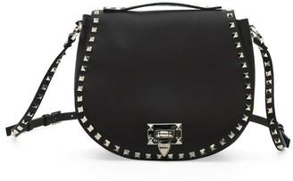 Valentino Small Rockstud Leather Saddle Bag