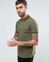 Lindbergh Tipped Pique Polo Logo Regular Fit in Green Marl