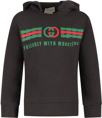 Gucci Grey Sweatshirt For Kid With Double Gg