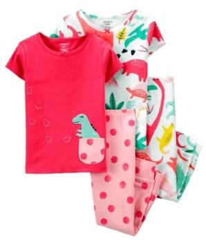 Carter's Toddler Girls 4 Piece Dinosaur Snug Fit Pajama Set