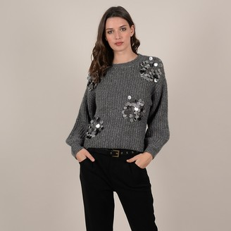 Molly Bracken Chunky Knit Jumper with Sequins and Crew Neck