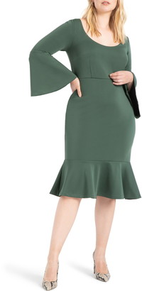 ELOQUII Bell Sleeve Ruffle Hem Dress