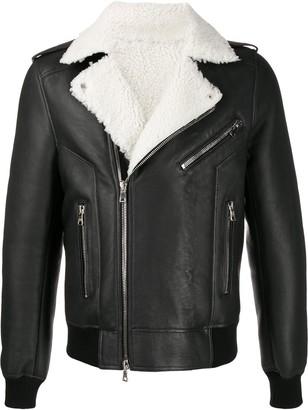 Balmain shearling leather biker jacket