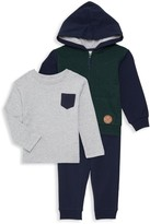 Little Me Baby Boy's 3-Piece Cotton Long-Sleeve Tee, Hoodie, & Jogger Pants.