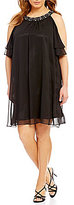 Jessica Howard Plus Bead-Neck Cold-Shoulder Chiffon Dress