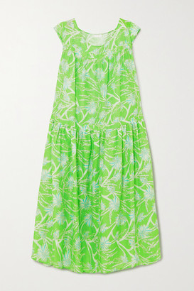 Eywasouls Malibu Caroline Tiered Floral-print Cotton-voile Maxi Dress - Green