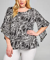 Tua Black & White Floral Outline Bell-Sleeve Top - Plus