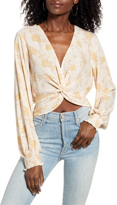 June & Hudson Floral Print Long Sleeve Crop Top