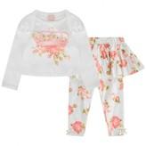 Kate Mack Kate Mackaby Girls Ivory Floral Crown Top & Leggings Set