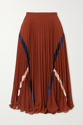 See by Chloe Satin-trimmed Pleated Voile Midi Skirt - Burgundy