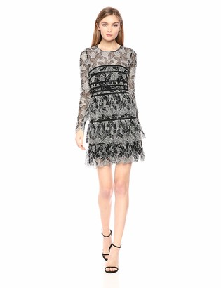 Halston Women's Long-Sleeve Lace Dress with Strapping Detail Black/Cream 10