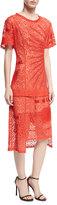 Stella McCartney Carlotta Short-Sleeve Lace Midi Dress