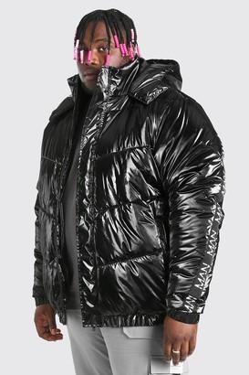 boohoo Mens Black Plus Size MAN Dash High Shine Hooded Puffer, Black