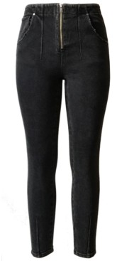 Tinseltown Juniors' Zip-Front High-Rise Skinny Jeans