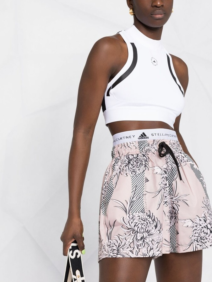 Thumbnail for your product : adidas by Stella McCartney Floral-Print Track Shorts