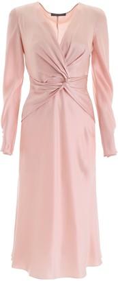 Alberta Ferretti Deep V Neck Midi Dress