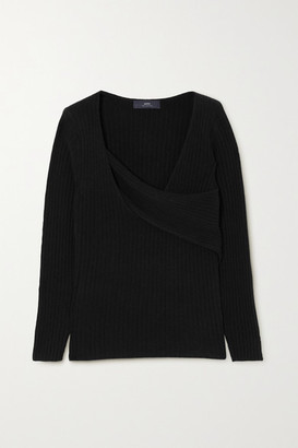 Arch4 Twist-front Ribbed Cashmere Sweater - Black