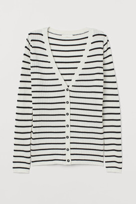 H&M Rib-knit Cardigan - White