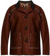 Miu Miu Stud-embellished fringed suede jacket