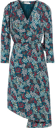 Joie Acantha Asymmetric Floral-print Crepe De Chine Wrap Dress