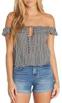 Billabong Peach Kisses Gingham Off the Shoulder Top