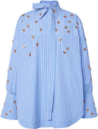 Valentino Oversized Embellished Striped Cotton Shirt