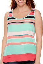 Liz Claiborne Striped High-Low Tank Top - Petite