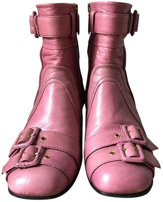 Prada Pink Leather Ankle boots