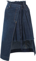 Sacai denim pleated panel wrap skirt - women - Cotton - 1