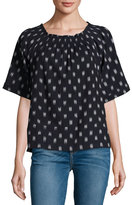 Current/Elliott The Smock Dotted Ikat Tee, Blue