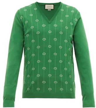 Gucci Gg Jacquard V Neck Wool Blend Sweater - Mens - Green
