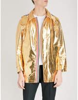 Thom Browne Hooded metallic-cotton parka jacket