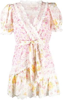 LoveShackFancy Belen floral-print wrap mini dress